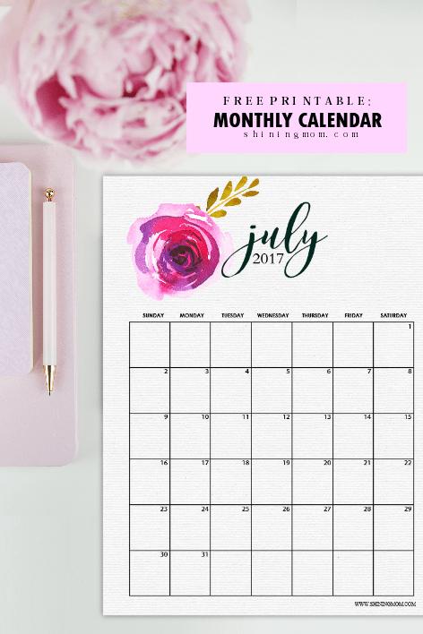 July Calendar Design : Free july calendar set gorgeous designs to print