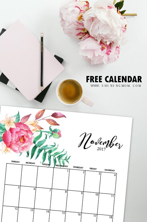cute november 2017 calendar printable