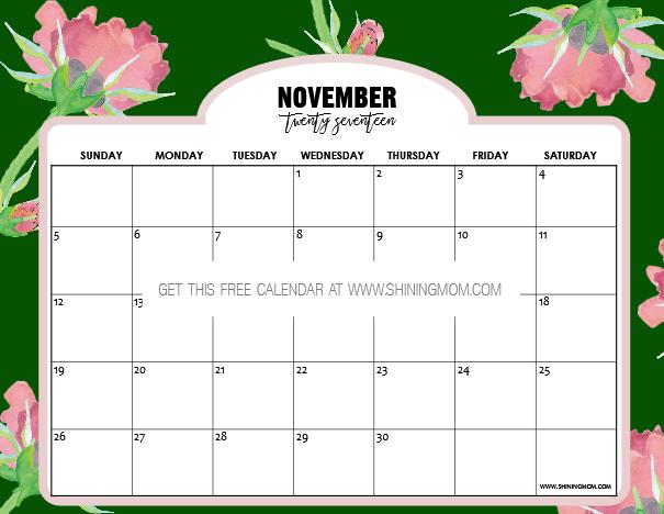 November Calendar Design : Free printable november calendar beautiful designs