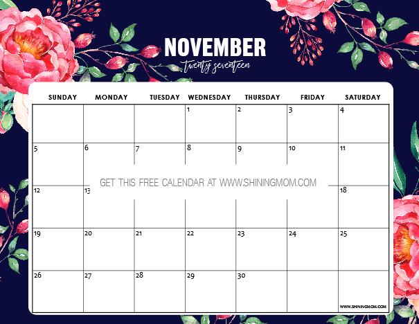 Free Printable November 2017 Calendar 12 Beautiful Designs – Free Calendar Printable