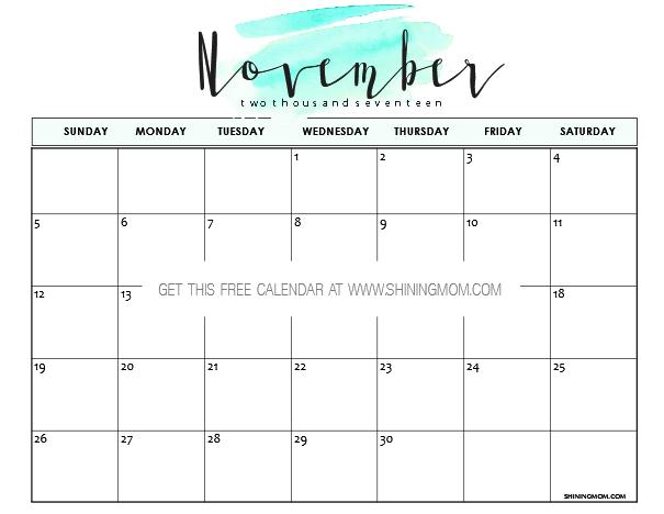 Free Printable November 2017 Calendar: 12 Beautiful Designs!