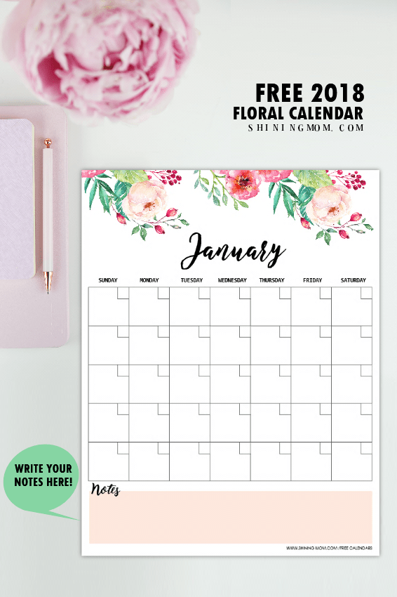 free printable 2018 monthly calendar and planner