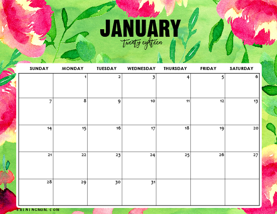 Year Calendar Pretty : Printable calendar with free weekly planners