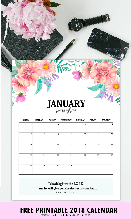 Self Made Calendar 2018 : Free calendar printable with bible verses to inspire you
