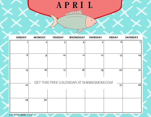 Calendar Kids April : Free printable april calendar amazing designs