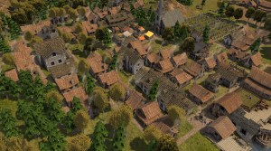 Aerial shot of houses in Banished