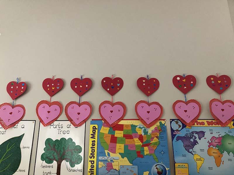 Shining Stars Montessori School Valentine's Day Art Work