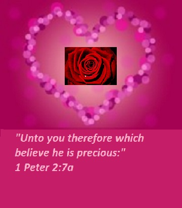 """1 Peter 2:7a """"Unto you therefore which believe he is precious:"""""""