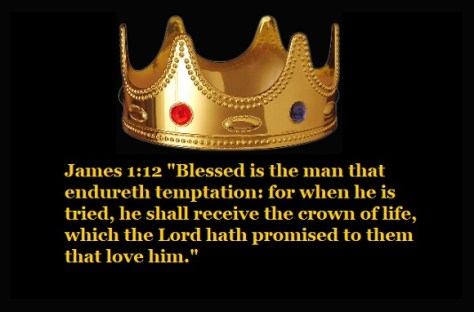 """James 1:12 """"Blessed is the man that endureth temptation: for when he is tried, he shall receive the crown of life, which the Lord hath promised to them that love him."""""""