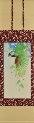 「いたずら-姫金剛鸚哥-」 軸装 画寸69×34㎝ 和紙、水干、岩絵具