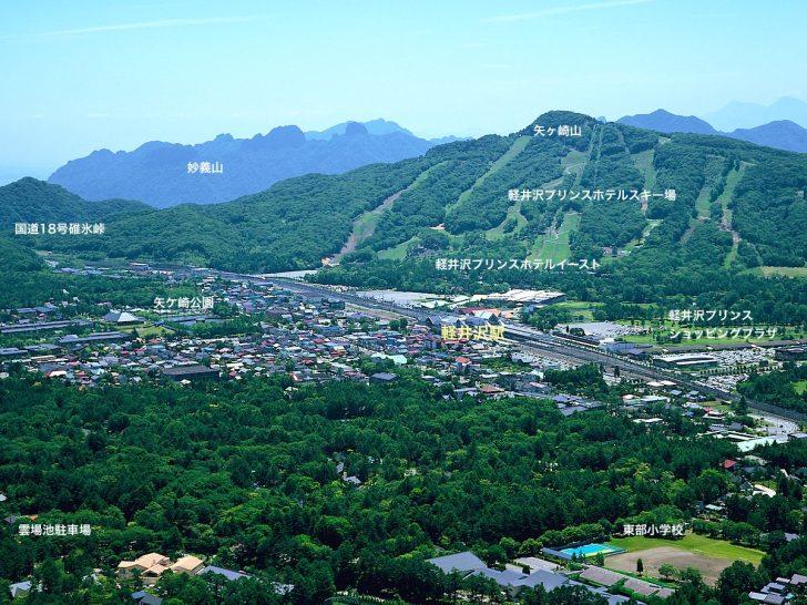 離山山頂展望台から軽井沢駅方面を展望