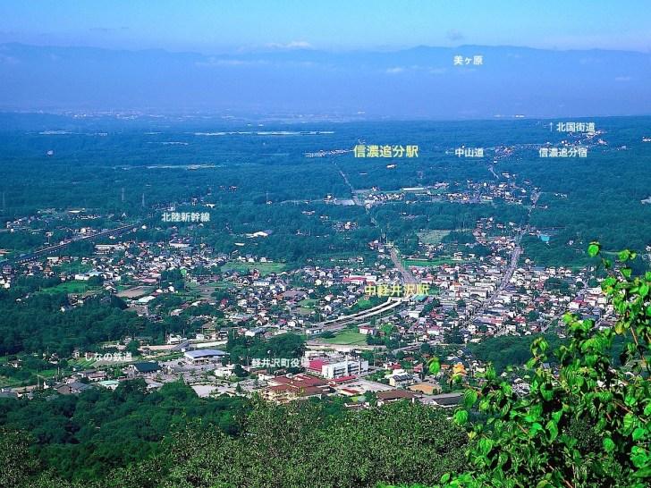 離山山頂展望台から中軽井沢方面の眺望