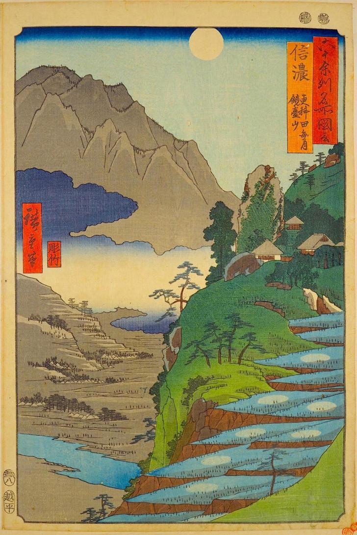 広重『大日本六十余州名勝図会』の「信濃 更科田毎月鐘台山」