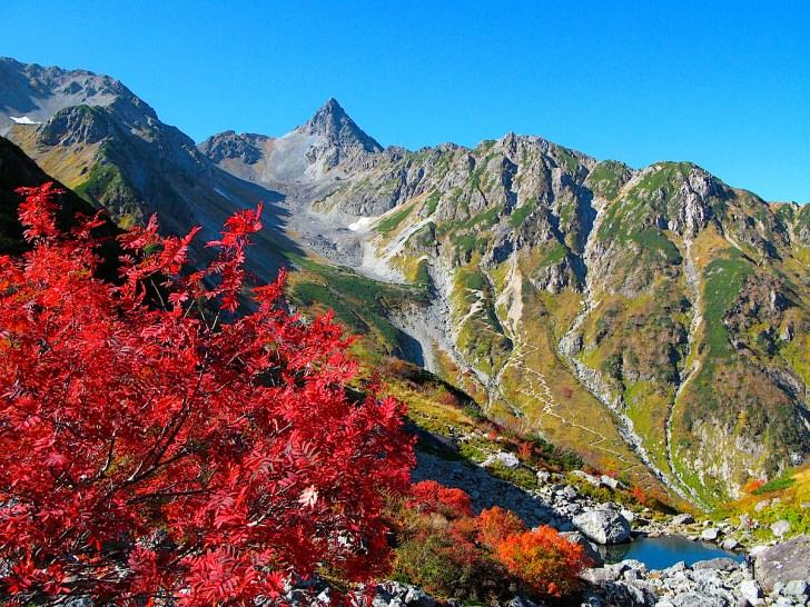 天狗池から眺めた紅葉の槍ヶ岳