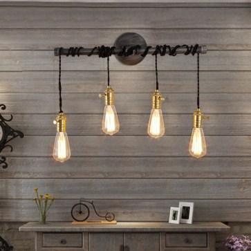 4-Light Plumbing Pipe Hanging Exposed Bulbs