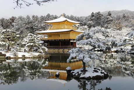 雪の金閣寺(雪化粧) 画像