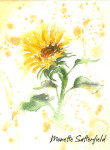 New Art: Three Watercolor Sunflowers