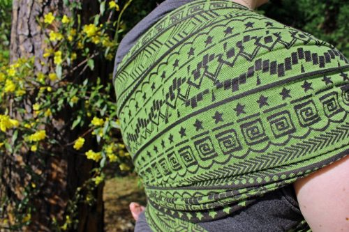shiny_star_designs_space_invaders_cetus_woven_wrap_babywearing_budget_low_cost_green_geometric_jacquard_geeky_gamer_nerdy_2