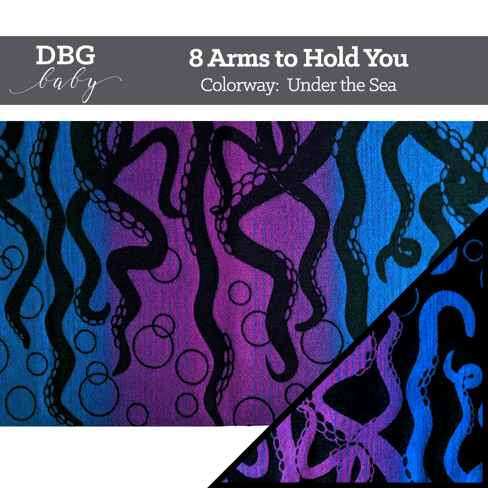 8 Arms to Hold You Under the Sea colorway - tentacle fabric on a purple and blue gradient