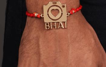 Buy rakhi from india RAKHI - CAMERA BHAI - YELLOW GOLD