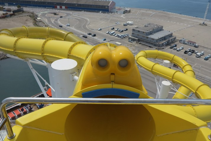 Long way down: The entrance to the 334ft Twister slide