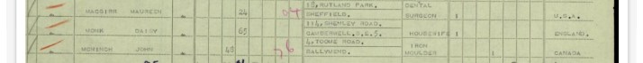 The entry on the Cunard passenger list for my grandmother, Daisy Monk