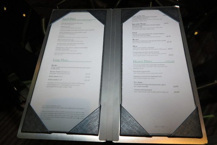 Glass act: Our menu at the Glass House