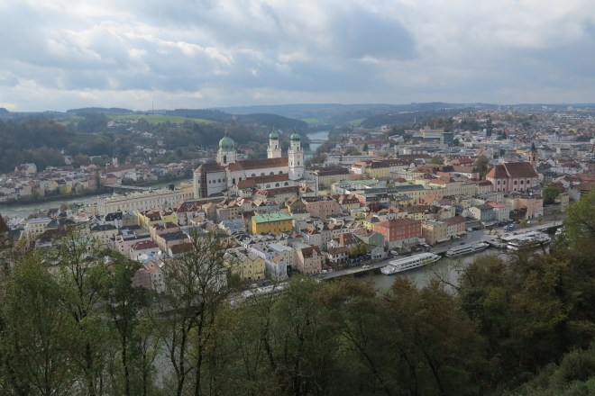 Three flowing: Looking down on Passau's rivers