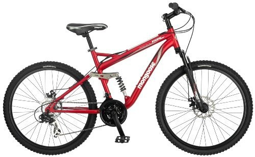 Mongoose Stasis Comp 26-Inch Full Suspension Mountain Bicycle, Matte Red,  18-Inch Frame – For Sale