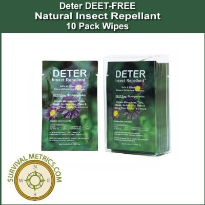 Deter DEET FREE Natural Insect Repellant Wipes - 10 Pack