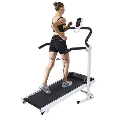 New Manual Treadmill Machine Steel Frame Portable Folding Cardio Fitness42.5