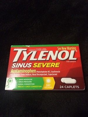 Tylenol Sinus Congestion and Pain Severe Caplets 24 Count NIB OTC Free Shipping