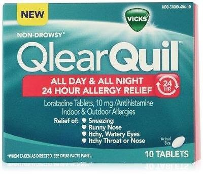 VICKS Qlear Quil Non-Drowsy All Day & Night 24 Hr Allergy Relief 10 ct~EXP 316
