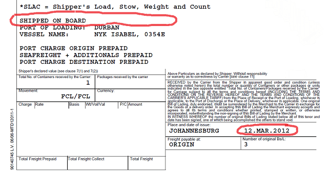 bill of lading date