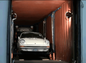 Car packed in container