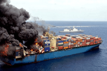 image of ship on fire