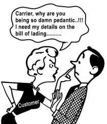 carrier refuses to show commercial and sales information on the bill of lading