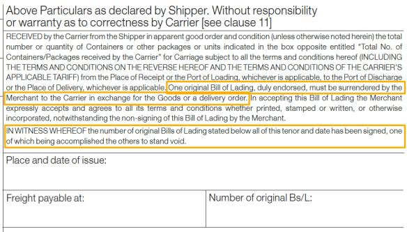 How Many Original Bills Of Lading Must I Surrender To Get Release Of