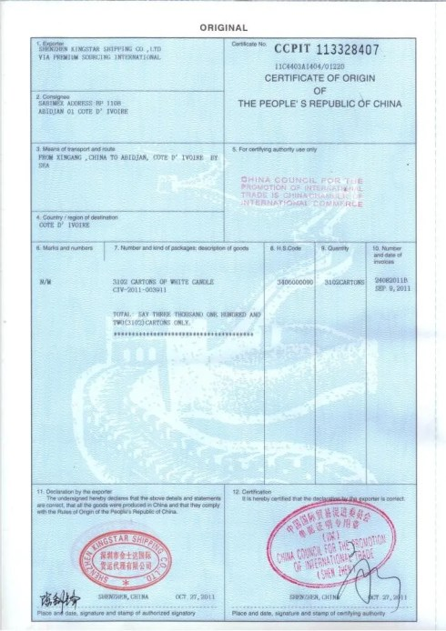 Certificate of Origin Sample Shipping and Freight Resource