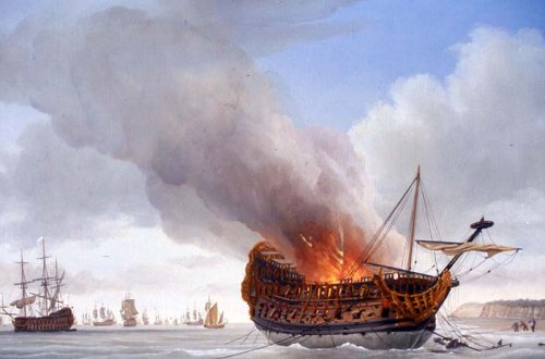 The Anne being burned by her captain after damage by the French