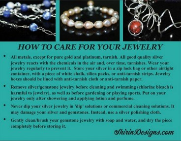 My 'Jewelry Care'  card