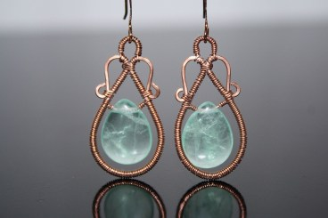 Green Fluorite and Copper earrings.