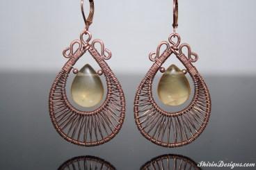 Fluorite earrings wrapped in copper wire