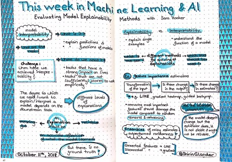 Sketchnotes from TWiMLAI talk: Evaluating Model Explainability Methods with Sara Hooker