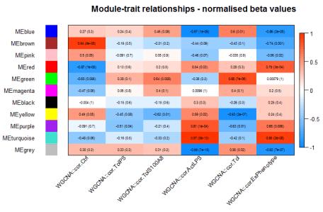 Module trait correlation heatmap