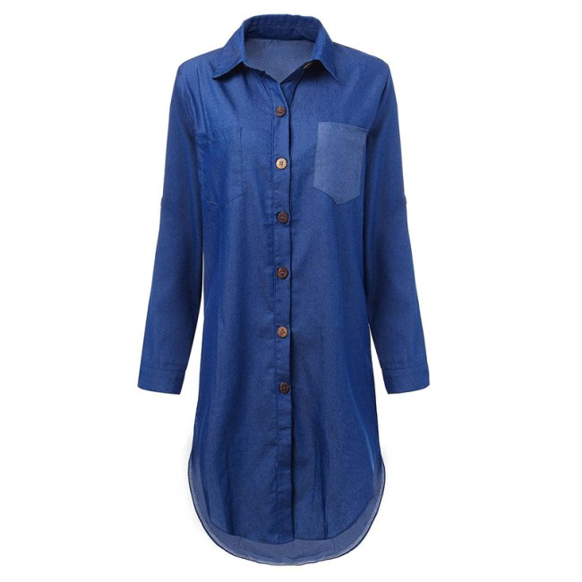 Women's Casual Loose V Neck Fold Long Sleeve Irregular Denim Shirt Mini Dress