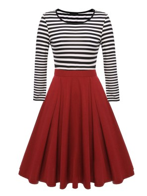 Women's Vintage Stripes Patchwork A-line Long Sleeve Cocktail Dress-Red