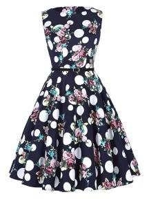 Women's Big Polka Dots Floral Spring Sleeveless Vintage Tea Dress with Belt