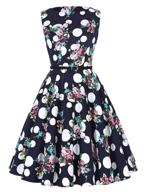 Women's Big Polka Dots Floral Spring Sleeveless Vintage Tea Dress with Belt