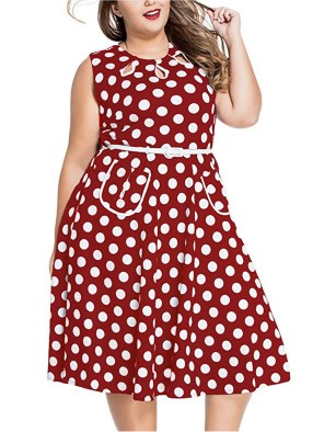 Womens Vintage 1950'S Polka Dots Casual Party Swing Dress Plus Size-White&red